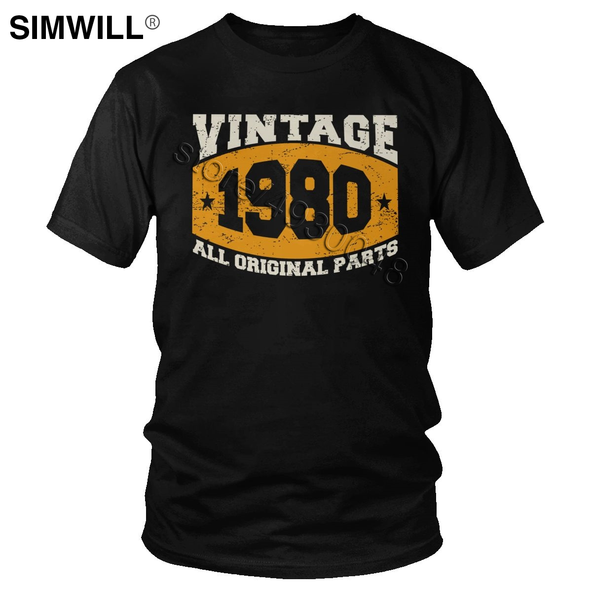 Vintage Since 1980 Birthday Celebration Gift T Shirt Men Short Sleeve Cotton Tee All Original Parts 40 Years Old Tshirt Tops