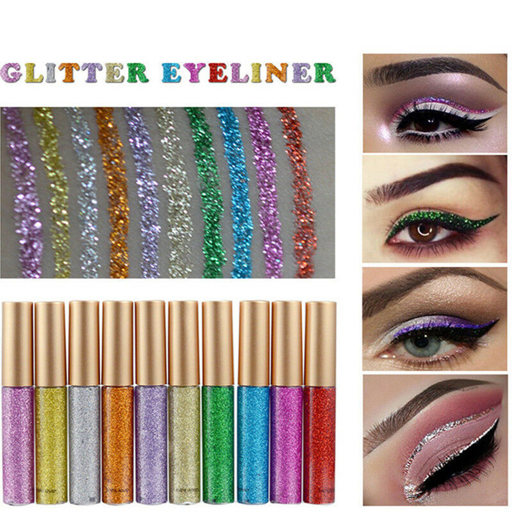 Waterproof Shiny Eyeshadow Glitter Liquid Eyeliner Makeup Eye Liner Pen Metallic Maquiagem Profissional Completa Lapis De Olho