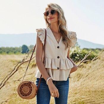 2021 Women Spring Shirt Ruffles Solid Slim Single Breasted V-Neck Sleeveless Blouse