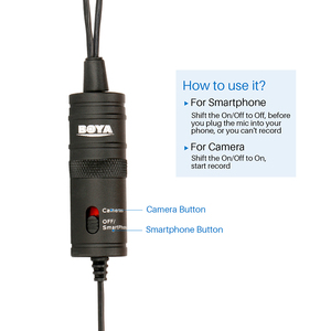 Image 5 - BOYA BY M1DM BY M1 מיקרופון עם כבל כפול ראש Lavalier דש קליפ על עבור Canon ניקון DSLR מצלמות וידאו חכם טלפון הקלטה