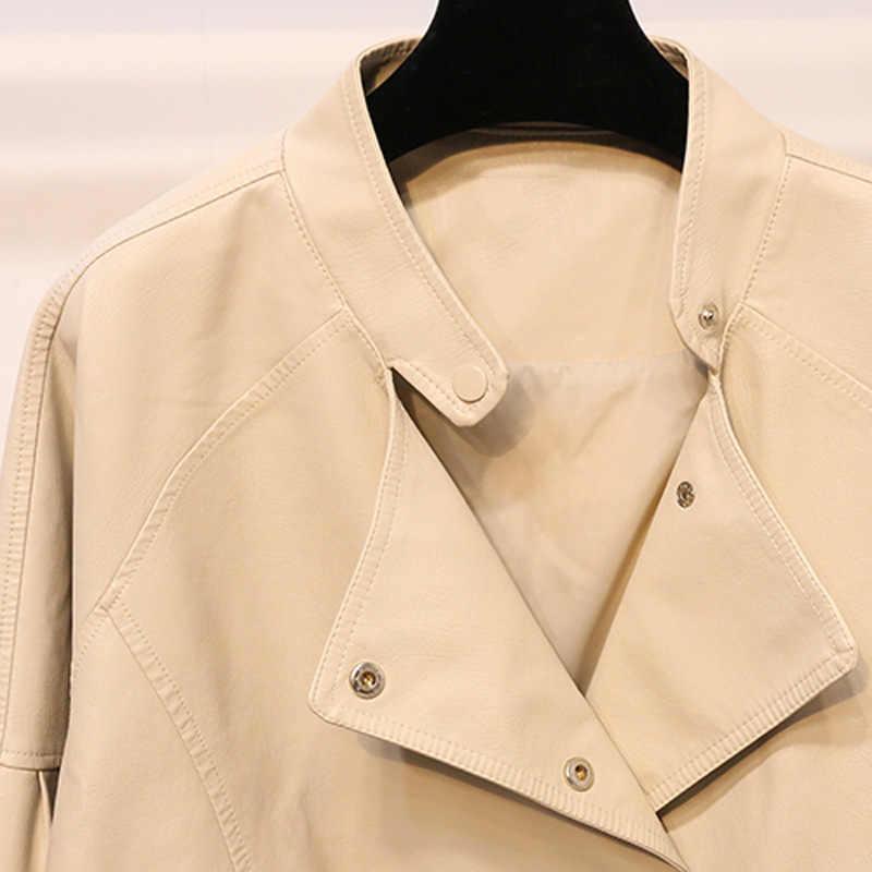 Chaqueta corta de cuero Pu para mujer, Punk MotorcRcle chaqueta de cuero, con cremallera delgada, chaquetas de cuero de imitación para mujer, ropa de abrigo de un solo pecho R