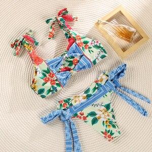 Image 2 - Miyouj fırfır çiçek Bikini 2020 mayo bandaj yay mayo kadın Biquini Feminino 2018 mayo seksi Bikini seti