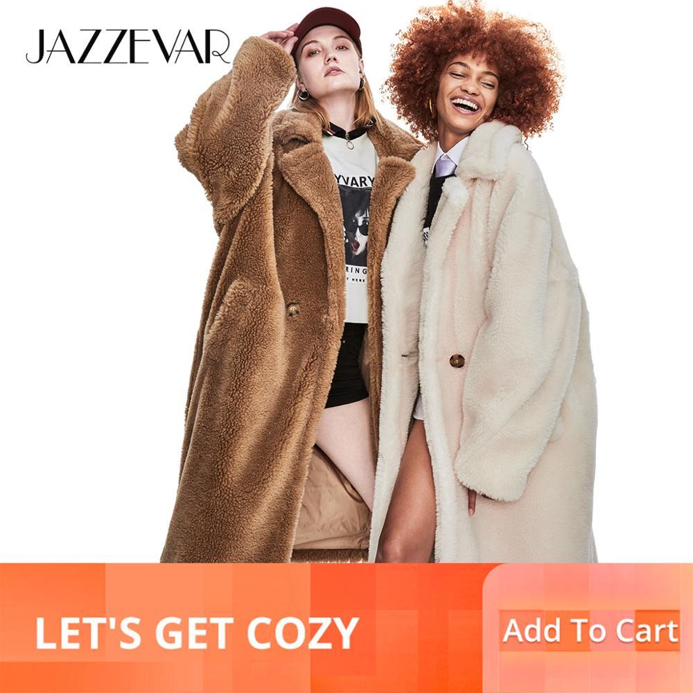 Kadın Giyim'ten Yün ve Karışımları'de JAZZEVAR 2019 Kış Yeni Yüksek Moda Bayan Oyuncak Ayı Simgesi Parka X Uzun Boy Ceket Kalın Sıcak Kabanlar Gevşek giyim'da  Grup 1