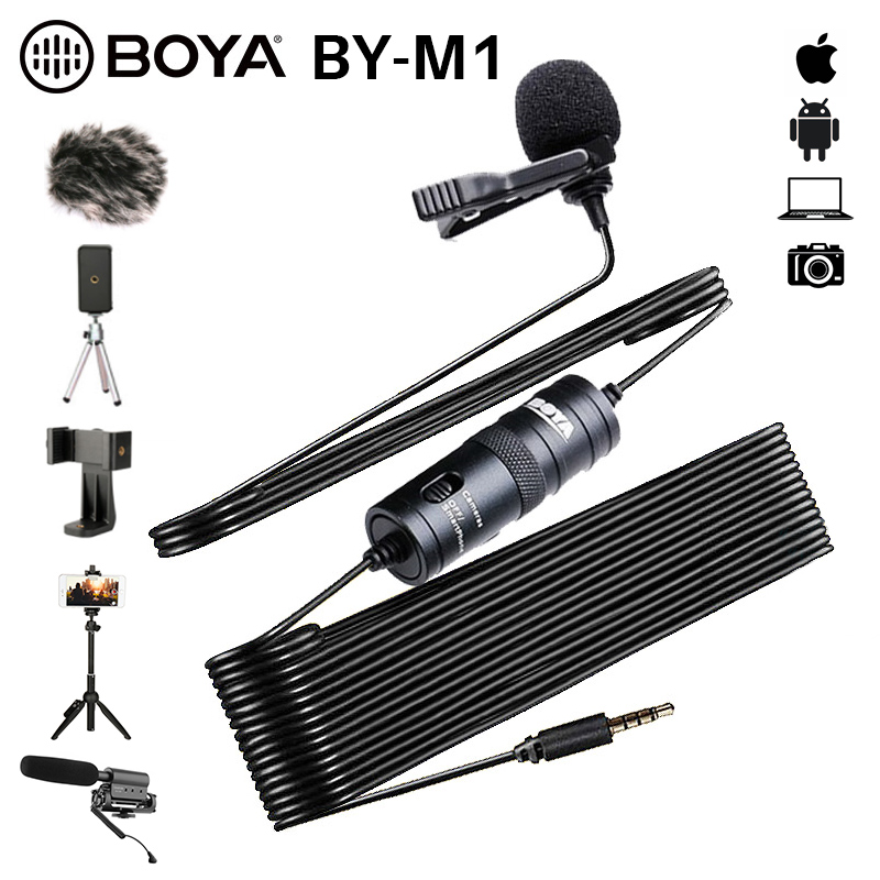 BOYA BY-M1 3.5mm Audio Video Record Lavalier Lapel Clip Microphone for iPhone Android Mac Vlog Mic for DSLR Camcorder Recorder
