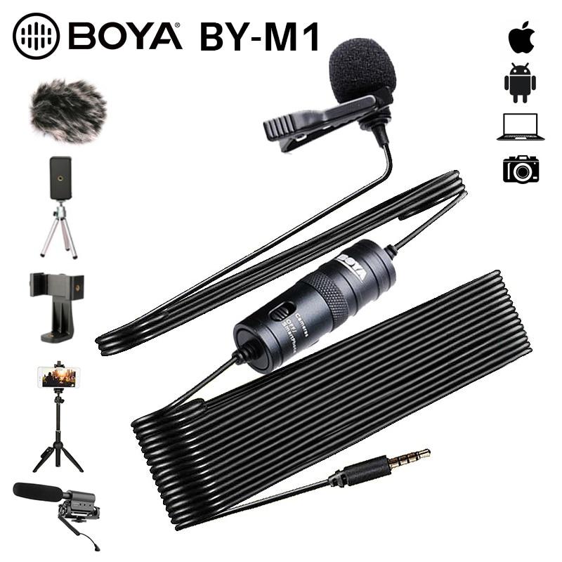 BOYA BY-M1 3,5mm Audio Video Rekord Lavalier Revers Clip Mikrofon für iPhone Android Mac Vlog Mic für DSLR Camcorder recorder