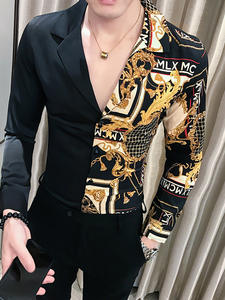 Gold Shirt Slim-Fit Long-Sleeve Baroque Men Patchwork Print Party Black Autumn Casual