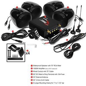 Image 2 - Aileap 1000 Вт мотоцикл аудио 4CH усилитель лодка Колонки Системы, поддержка Bluetooth, USB, AUX, FM радио, SD карты, проводное управление