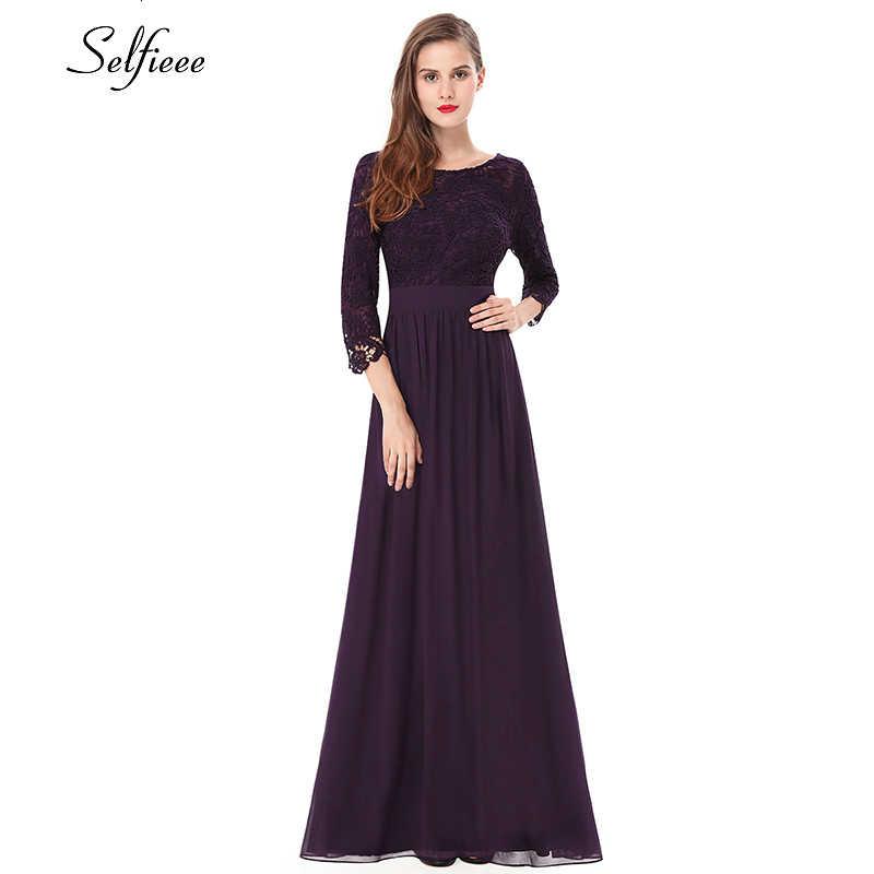 Винтажные кружевные макси платья а-силуэта с круглым вырезом и рукавом 3/4, дешевое шифоновое платье для женщин, Элегантное Длинное Вечернее Платье vestidos De Festa 2019