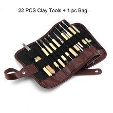 22Pcs Arts Crafts Clay Sculpting Tools Set Pottery & Ceramics Wooden Handle Modeling Clay Tools With Bag