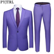 PYJTRL Conjunto de dos piezas para hombre, traje de boda ajustado, adorno para padrino de boda, traje informal de negocios, chaqueta y pantalones, traje para hombre