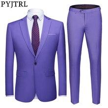 PYJTRL Mens Pure สีชุด 2 ชิ้น Slim Fit ชุดเจ้าบ่าวเจ้าบ่าวธุรกิจชุดลำลองเสื้อแจ็คเก็ตและกางเกงเครื่องแต่งกาย Homme