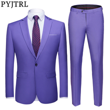 PYJTRL Mens Pure Color Two piece Set Slim Fit Wedding Suits Groomsman Groom Business Casual Suit Jacket and Pants Costume Homme