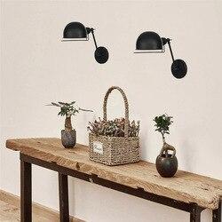 Americanpersonality Retro składane ściana światło czarny/kolor rdzy LED E27 proste światła salon dekoracji połysk lampa ścienna w Wewnętrzne kinkiety LED od Lampy i oświetlenie na