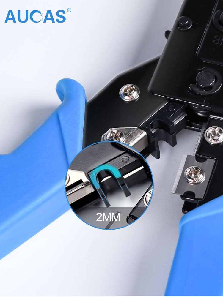 AUCAS 2020 nowy wielofunkcyjny kabel Crimper RJ11 RJ45 ściągacz do przewodów Cutter zaciskania sieci szczypce narzędzia z Tester kabli