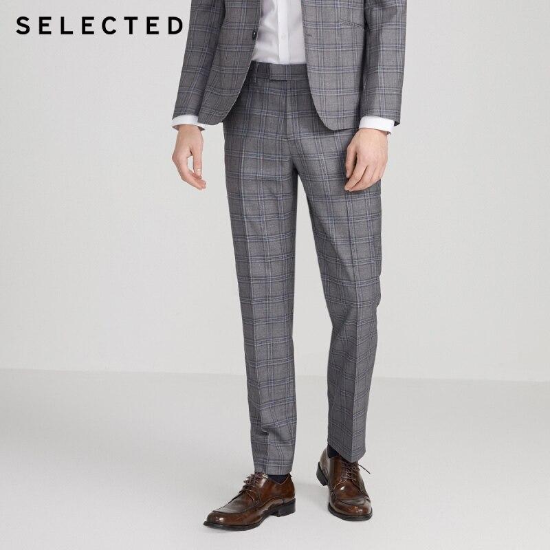 SELECTED Men's Plaid Business Casual Pattern Suit Pants S|42016A511