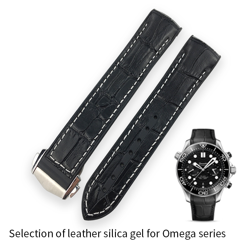 19mm <font><b>20mm</b></font> Rubber <font><b>Silicone</b></font> Watch <font><b>band</b></font> Watchband for Omega strap Seamaster 300 speedmaster Ocean <font><b>Bracelet</b></font> AT150 8900 Accessories image
