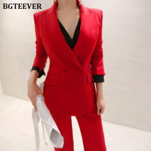 Fashion Red Women Pant Suits Slim Blazer Jacket & Ankle-length Pants Sexy Female