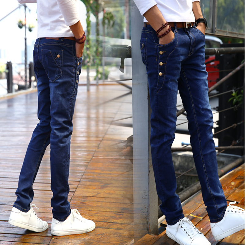 Spring And Summer New Style 2018-Blue Korean-style Skinny MEN'S Jeans Elasticity Jeans