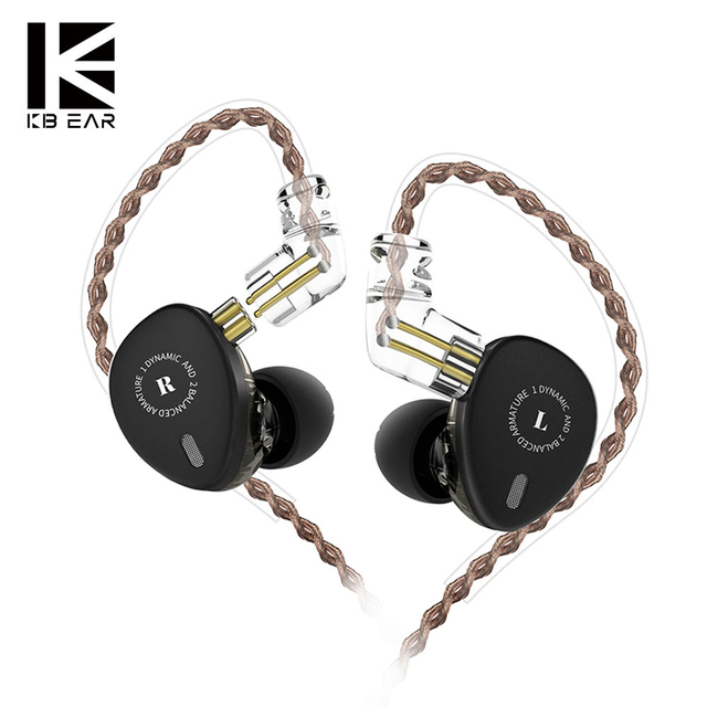 KBEAR KB06 2BA 1DD Hybrid Earphones HIFI Stage DJ Monitor Earphone Headphones With MMCX Connector Earplug Cable Wired Earbuds
