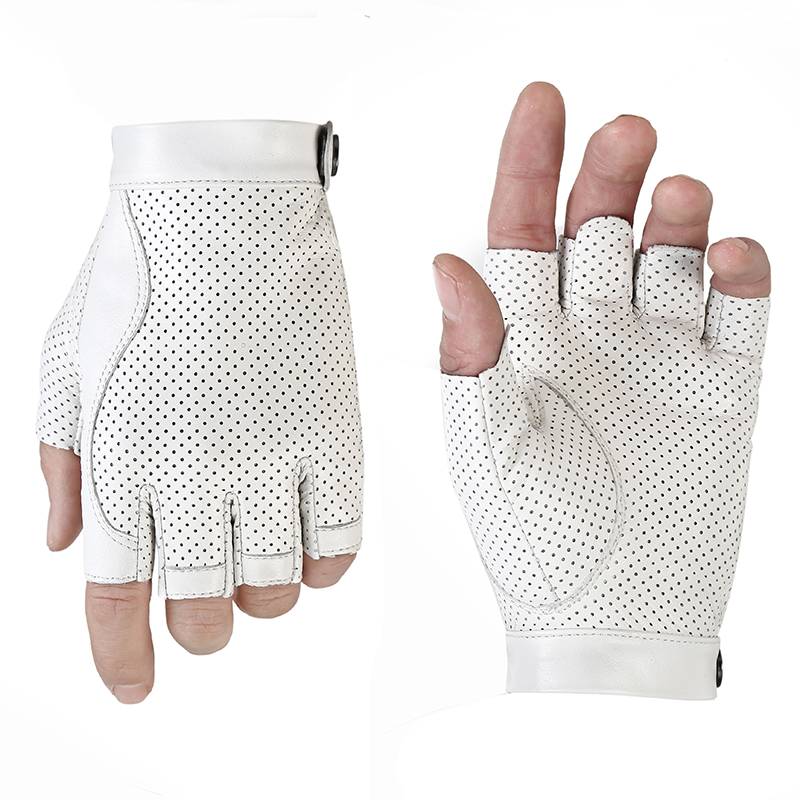 Men White Half Finger Sheepskin Genuine Leather Gloves Summer Autumn Outdoor Fishing Motorcycle Driving Gloves Leather AGB664