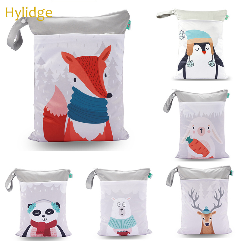 Hylidge 30*40CM Pouch Maternity Bag Printed Cartoon Baby Kids Snack Bag Reusable Diapers Nappy Bag Wet Bag Mom Stroller Bag