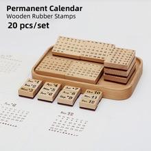 Yoofun 20 Pc/set Permanent Calendar Wooden Rubber Stamps Scrapbooking Decoration Bullet Journaling DIY Craft Standard Stamp