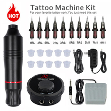 Tattoo Machine Kit Rotary Pen With Cartridges Needle Tattoo Power Supply Swiss Motor Permanent Makeup Machine Art Tattoo Supply