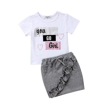 Комплект одежды для маленьких девочек, хлопковая футболка, короткое платье с юбкой, лето-осень 2019