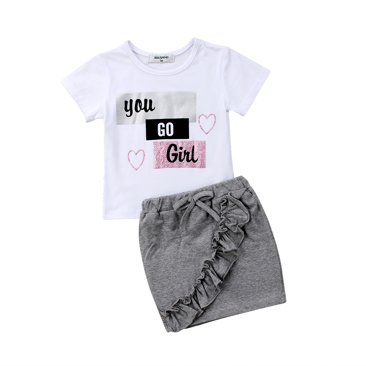 2019 New Summer Autumn Kid Baby Girls Cotton Tops T-shirt Short Skirts Dress Outfit Clothes Set