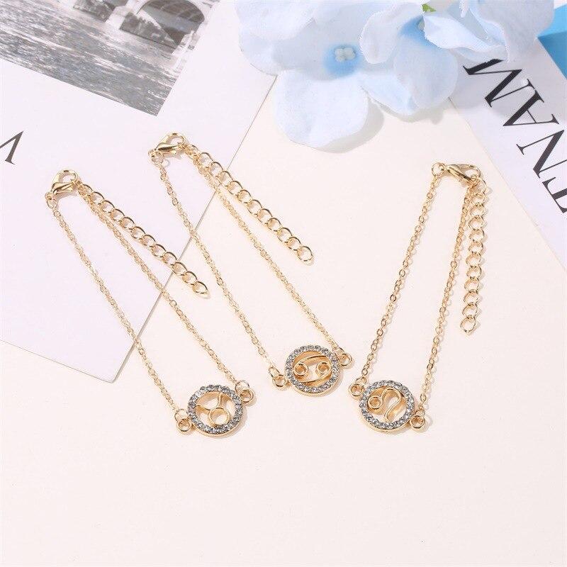 Модный стильный очаровательный браслет золотистый, двенадцать ярких стилей, женский светлый Стрелец