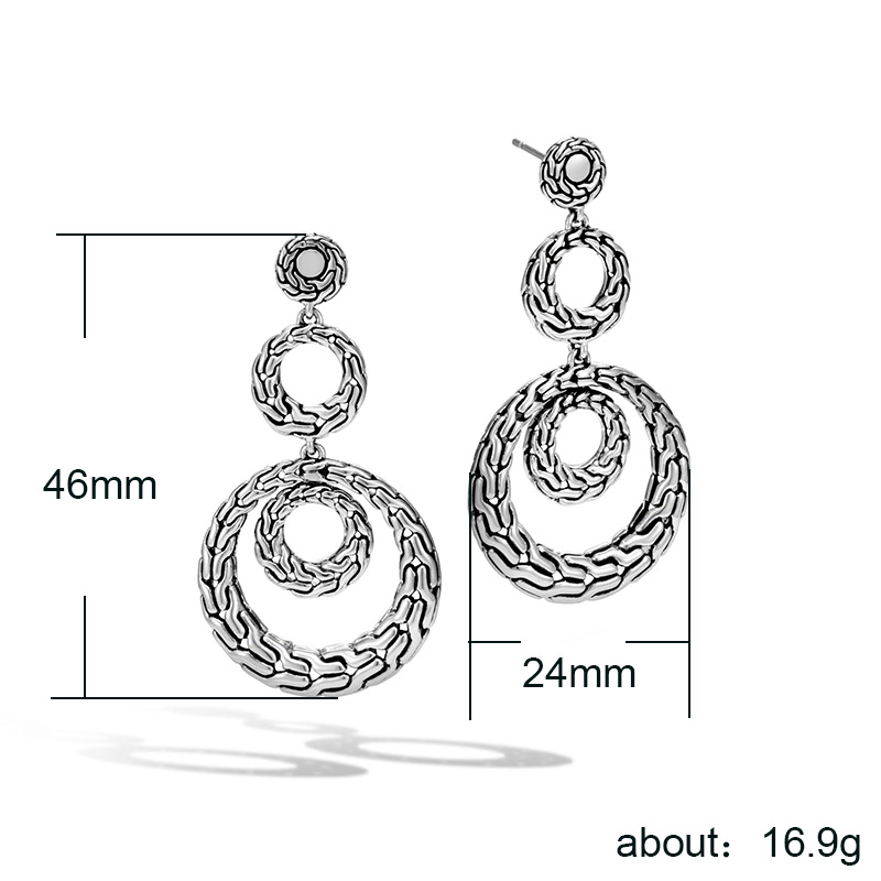 Huitan Multi Hoop Women Drop Earrings Vintage Exquisite Rough Pattern Design New Year Christmas Present Earrings Wholesale Lots
