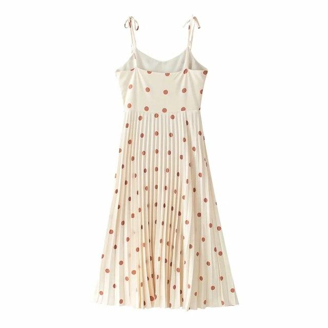 Vintage women elegant polka dots long dress 2020 summer fahsion ladies soft chiffon dresses boho female pleated dress girls chic 4