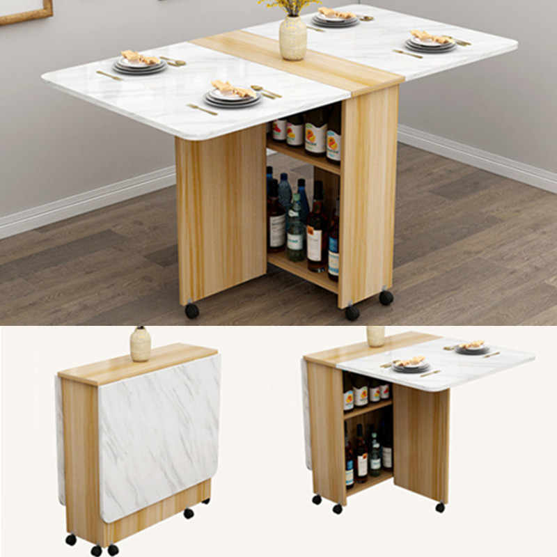 Storage Wooden Dining Table With Wheels Movable Living Room Fold Kitchen  Tables Furniture Eco-friendly Computer Desk Wall Table