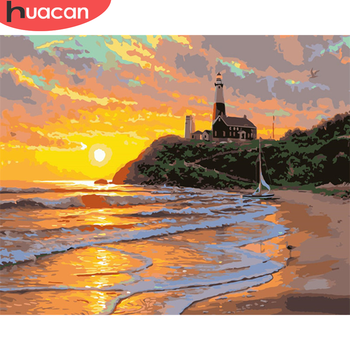 HUACAN Paint By Number Lighthouse Drawing On Canvas HandPainted Painting Art Gift DIY Pictures By Number Sunset Kits Home Decor