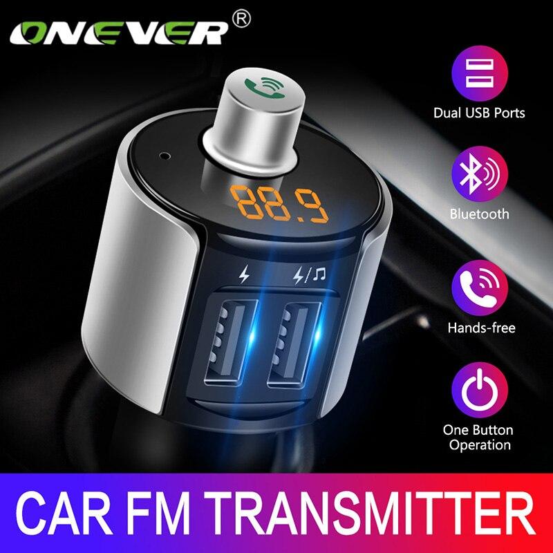 Onever sem fio bluetooth fm transmissor modulador adaptador de rádio do carro mp3 player 3.4a duplo usb carregador de carro kit carro handsfree