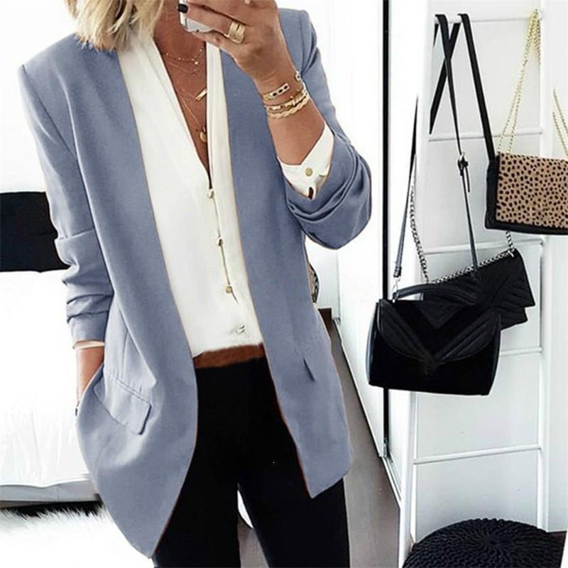 Women Ol Style Solid Long Sleeve Elegant Suit Office Work Pockets Plus Size Blazer V-Neck Long Open Front Notched Blazer