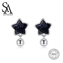 цена SA SILVERAGE 925 Silver Star Stud Earrings for Women Fine Jewelry Black Vintage 925 Sterling Silver Earrings Female онлайн в 2017 году