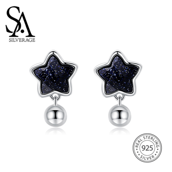 SA SILVERAGE 925 Silver Star Stud Earrings for Women Fine Jewelry Black Vintage 925 Sterling Silver Earrings Female sa silverage silver set 925 black stone star necklace and earrings set for female women pure silver jewelry s925 birthday gift