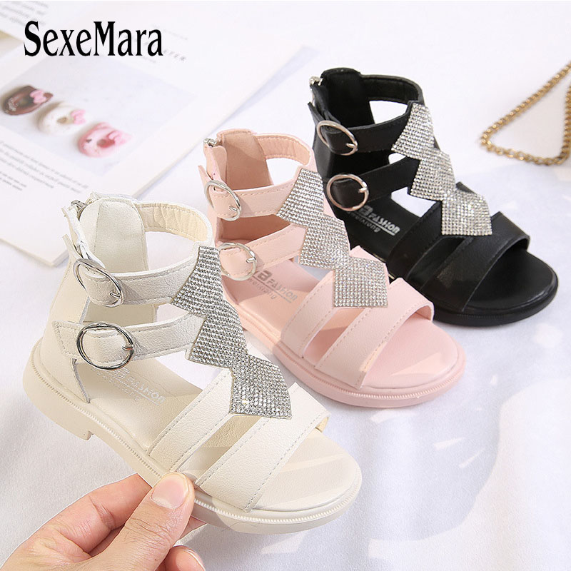 Girls Sandals Soft Bottom Little Princess Shoes Summer New Children's High Roman Shoes Baby Princess Crystal Beach Shoes D01222
