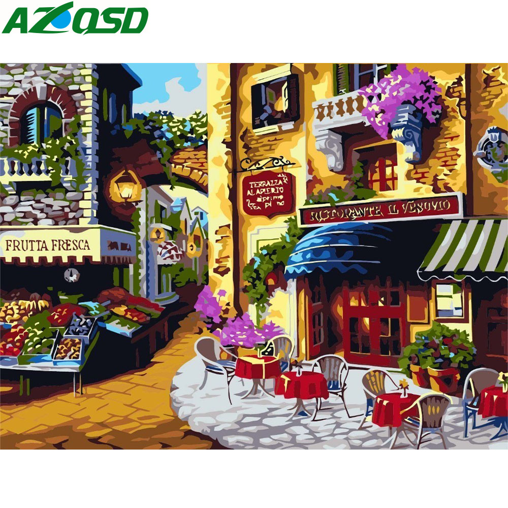 AZQSD Oil Painting City Shop Painting By Numbers Paint Landscape DIY Canvas Picture Hand Painted Home Decor K043