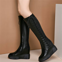 Women Lace Up Genuine Leather Wedges High Heel Knee High Boots Female Winter Warm Pointed Toe Thigh High Platform Pumps Shoes
