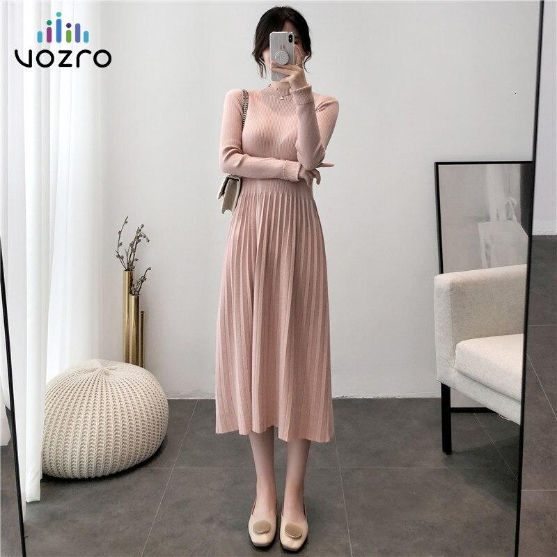 VOZRO 2019 Season Ol Temperament Sweater Long Sleeve Bouffancy Winter Maxi Dress Round Neck Knitting Unlined Garment Vestido