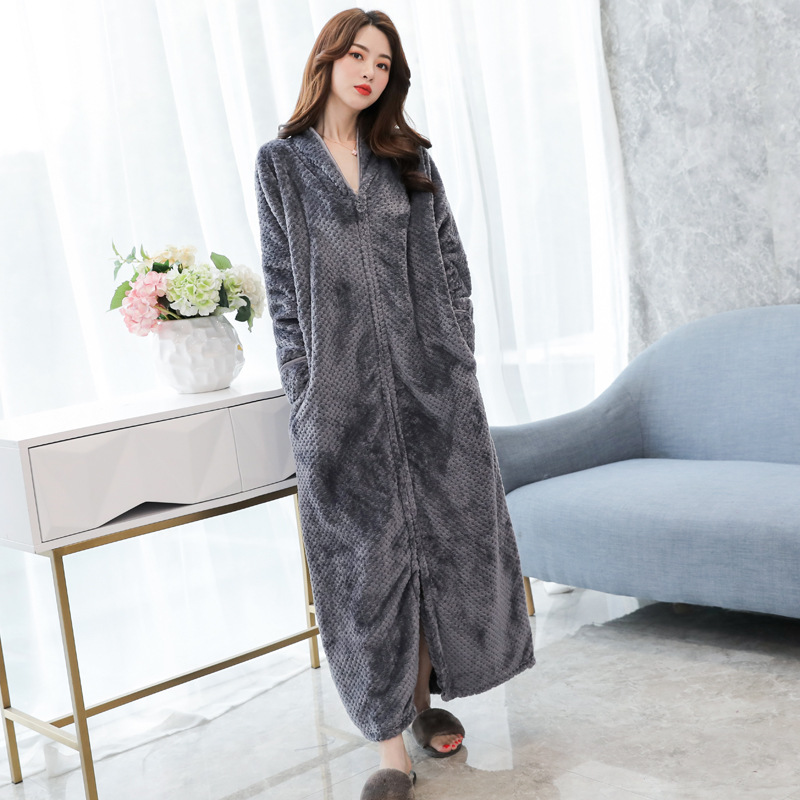 Casual Flannel Lady Sleepwear Robe Warm Coral Fleece Long Bathrobe Gown Casual Nightgown Novelty Home Dressing Gown With Zipper