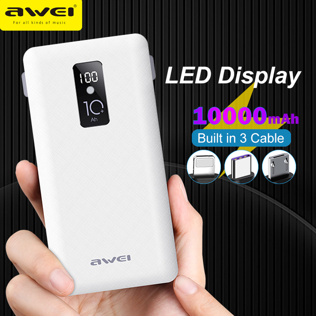 Awei Power Bank 10000Mah Led Display Draagbare Oplader Quick Externe Batterij Ingebouwde 3 Kabels Lightning Type C Micro voor Telefoon