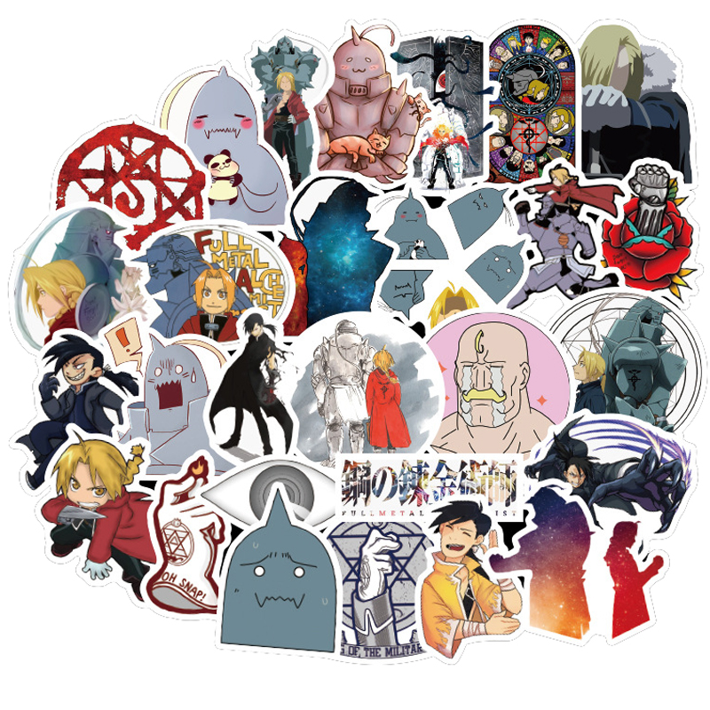 50PCS Japan Anime Fullmetal Alchemist Sticker For Luggage Laptop Skateboard Car Bicycle Backpack Decal Pegatinas Toy Stickers F4
