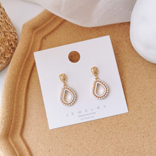 Retro Geometric Drop-shaped Simulated Pearl Earrings Temperature Simple Style Oorbellen Accessories Boucle Doreille