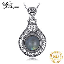 JPalace Heart Natural Labradorite Pendant Necklace 925 Sterling Silver Gemstones Choker Statement Necklace Women Without Chain(China)