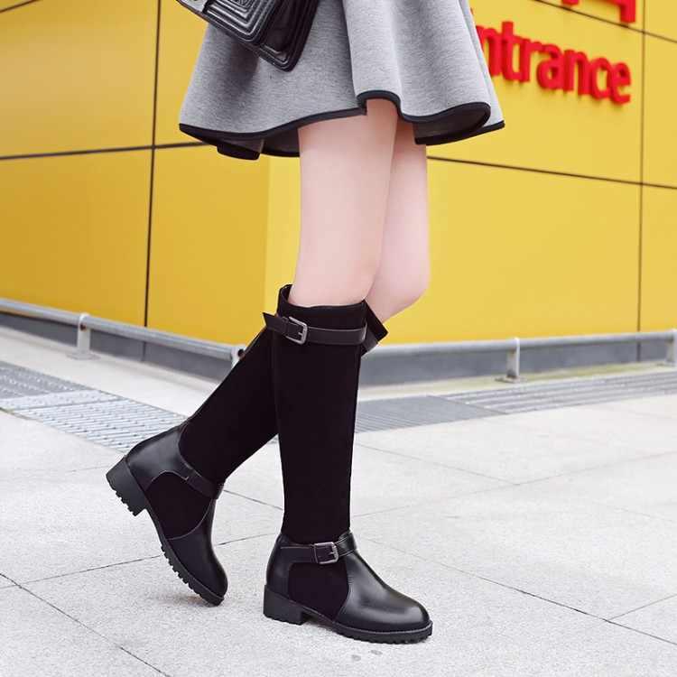 ใหญ่ขนาด 9 10 11-13 ต้นขาสูงรองเท้าเข่าสูงรองเท้าบูทบูทเหนือเข่าผู้หญิงสุภาพสตรีรองเท้าบูทเข็มขัดหัวเข็มขัด Splice ผ้าแขน