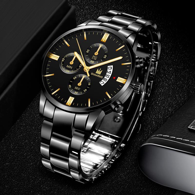 SHAARMS Luxury Men Business watches Fashion black Belt Date Sport watch male Quartz Wristwatch Relojes Hombre 2020