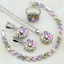 925 فضة مجوهرات متعدد الألوان الأحجار زركون مجموعات مجوهرات للنساء أقراط/قلادة/قلادة/حلقة/سوار